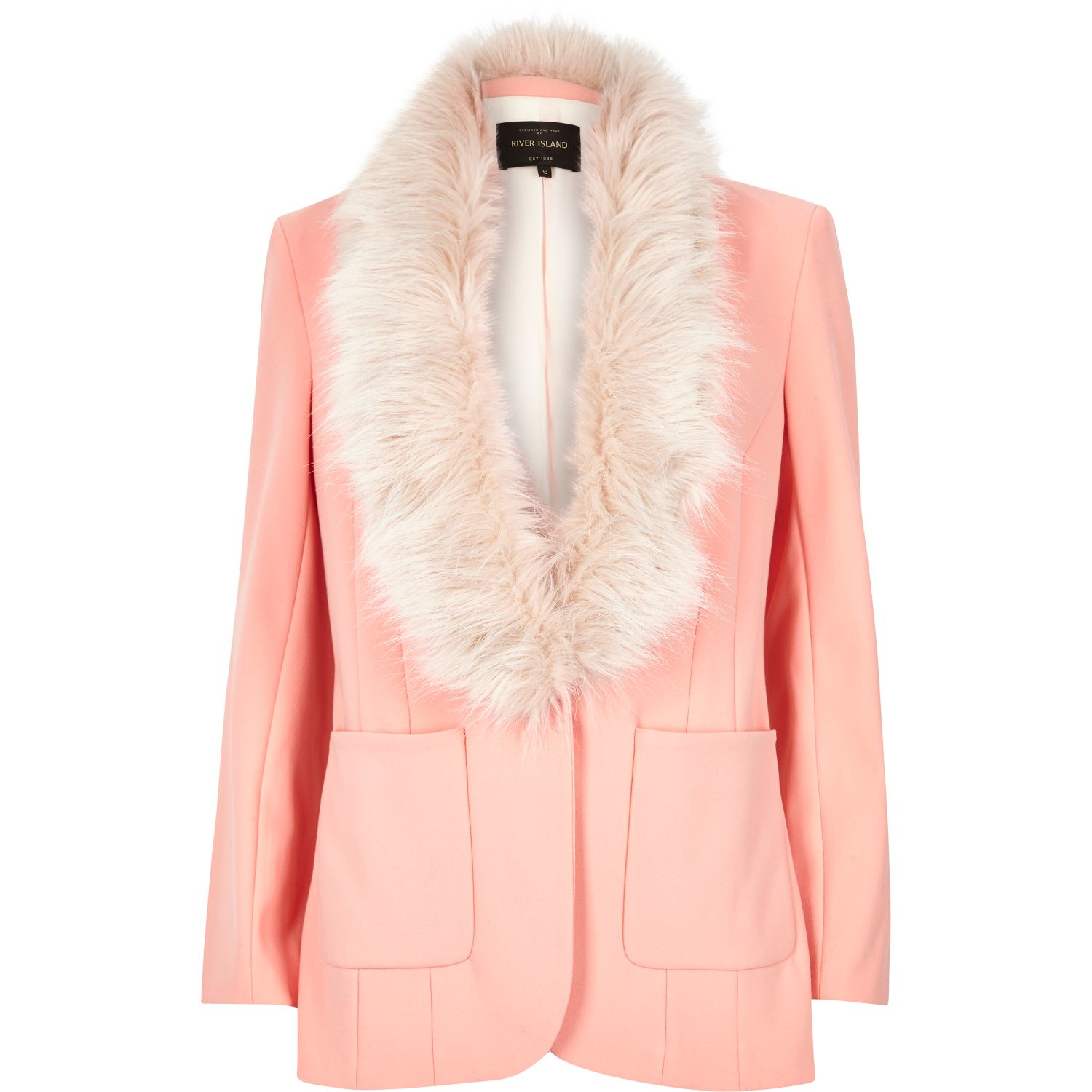 River island Pink Faux Fur Fitted Blazer in Pink | Lyst