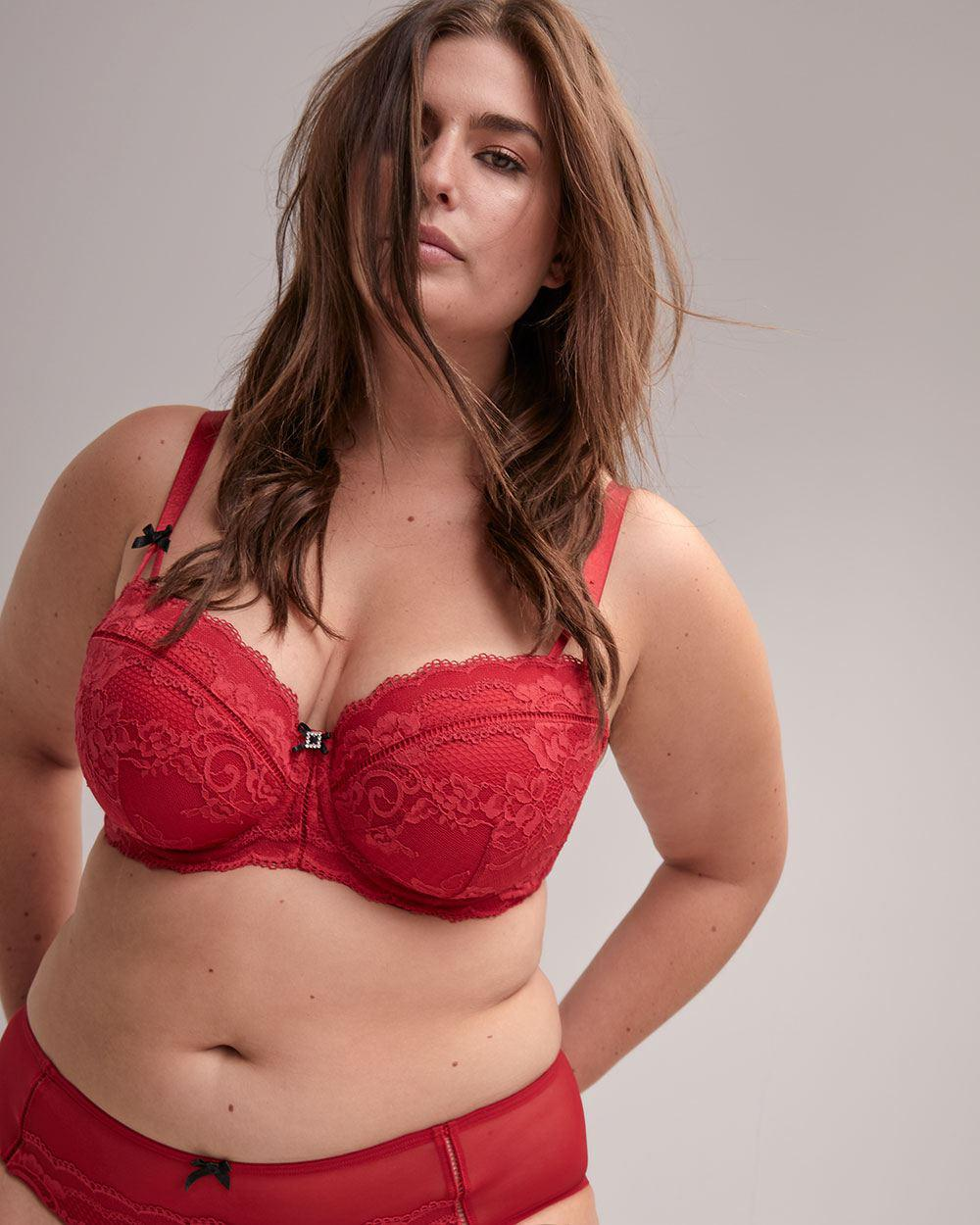 67dbeffca94 Lyst - Addition Elle Déesse Balconet Bra With Lace in Red