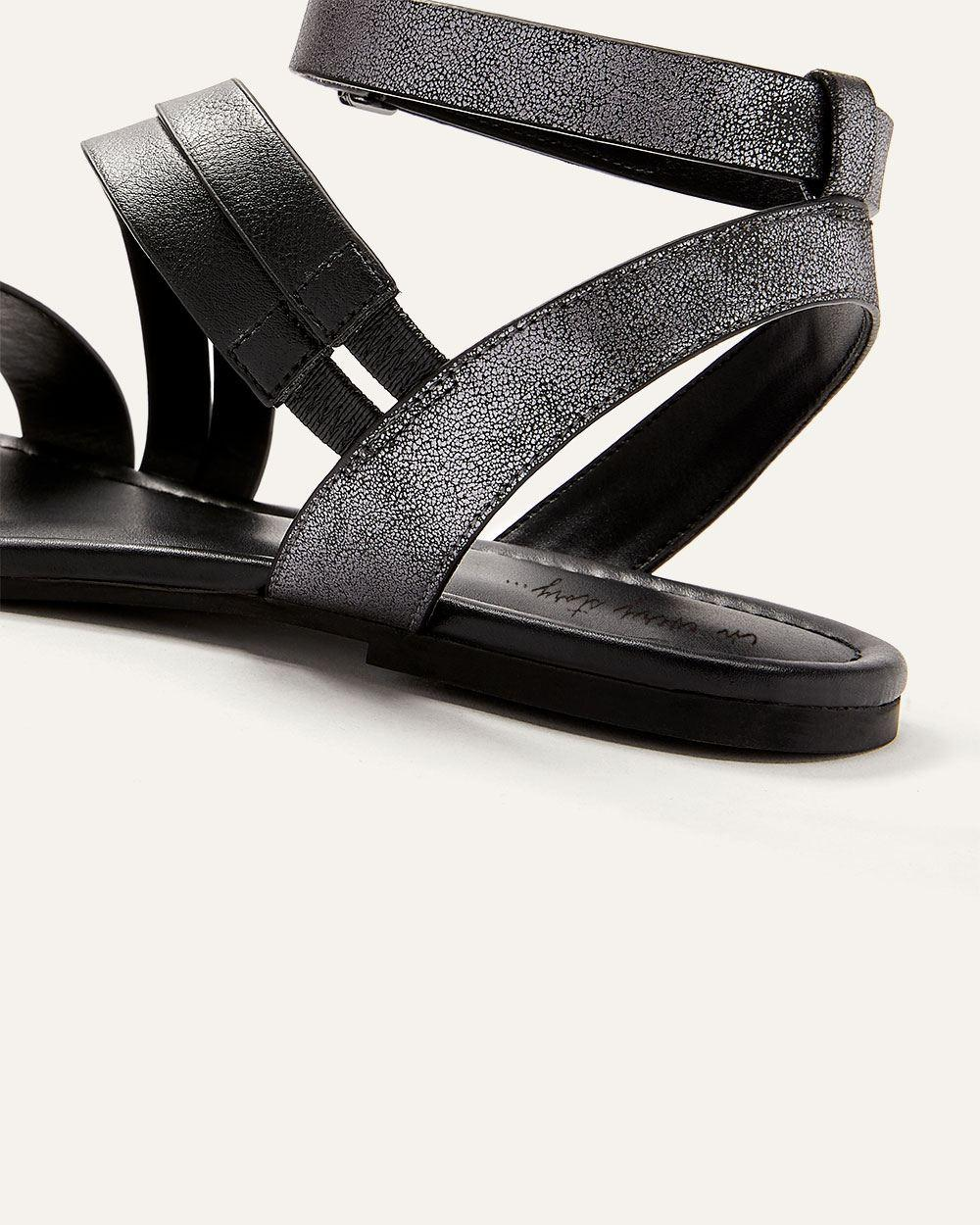 5c97eb960 Lyst - Addition Elle Wide Multi-strap Asymmetrical Flat Sandals in Black