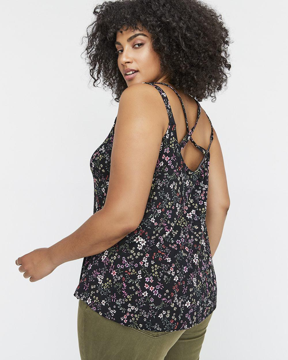63196ca189804 Lyst - Addition Elle Michel Studio Crochet Lace Neckline Printed Camisole  in Black