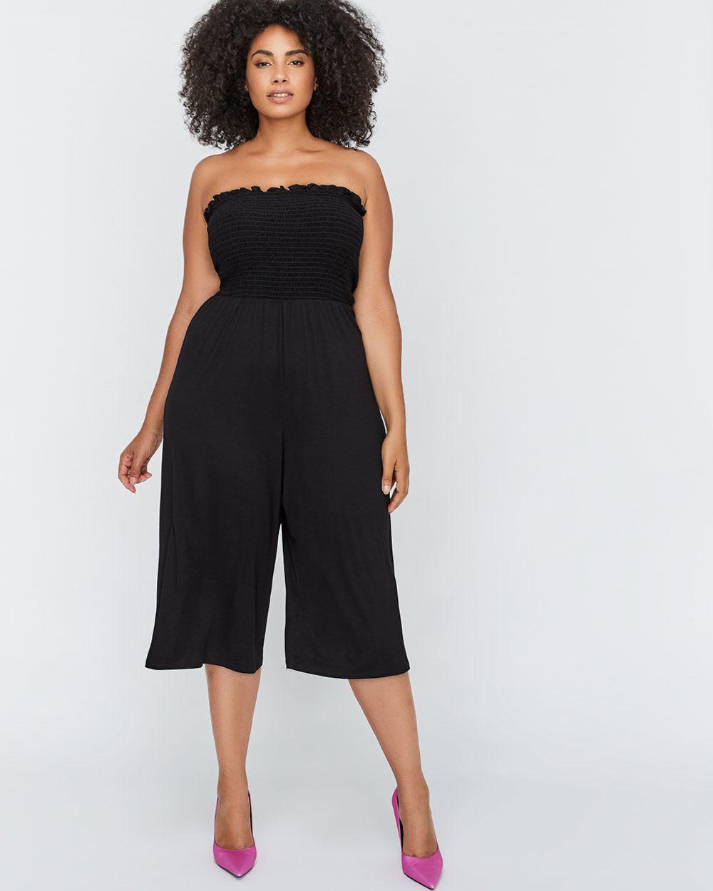 cd66780ea7c Lyst - Addition Elle Michel Studio Strapless Smocked Jumpsuit in Black