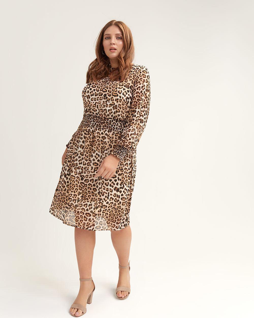 2a7e9d2c91 Addition Elle. Women s Brown Leopard-print Dress With Smocking Details ...