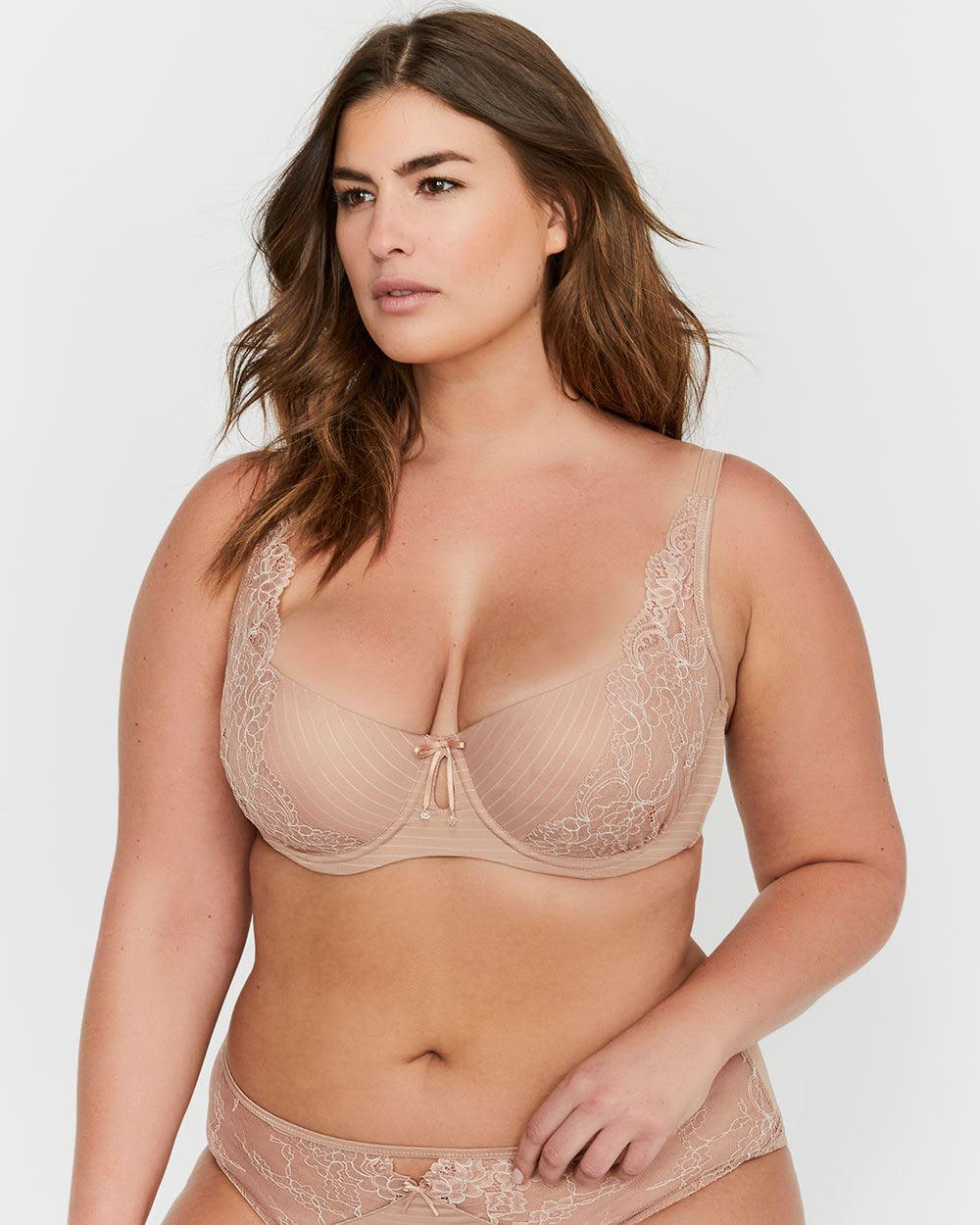 a9f2c7bed683a Addition Elle. Women s Ashley Graham Lace And Striped Diva Bra