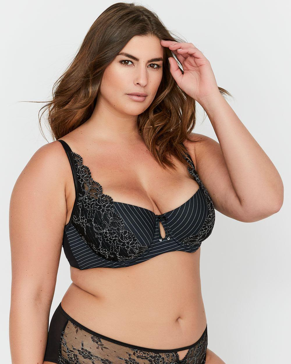 89448b16f1115 Lyst - Addition Elle Ashley Graham Lace And Striped Diva Bra in Black