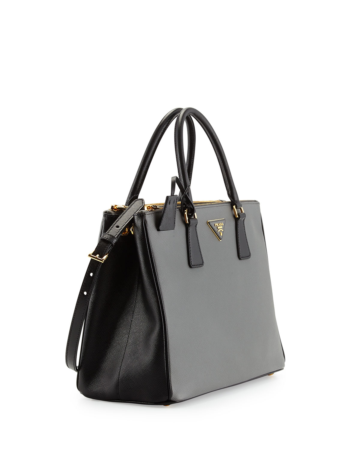 5f19688a1760 ... spain lyst prada saffiano lux bicolor double zip tote bag in gray be3f2  bd78b ...