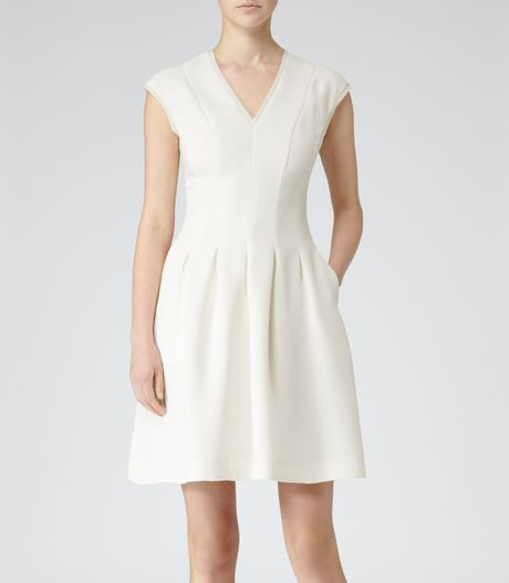 Reiss Lizzie Pleat Fit And Flare Dress In White Cream Lyst