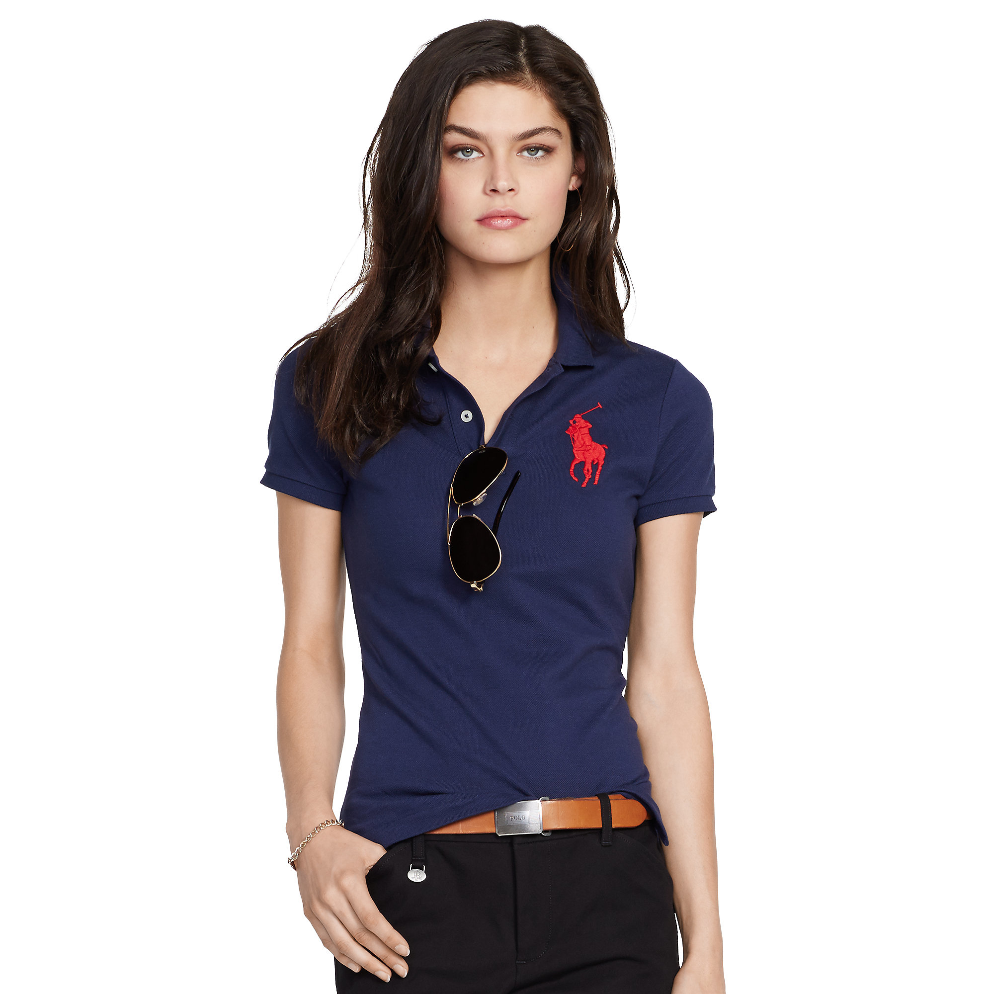 Lyst - Polo Ralph Lauren Skinny-fit Big Pony Polo Shirt in Blue 3ceef9523f74