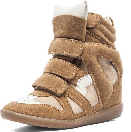 isabel marant bekett calfskin velvet leather sneaker in brown camel lyst. Black Bedroom Furniture Sets. Home Design Ideas