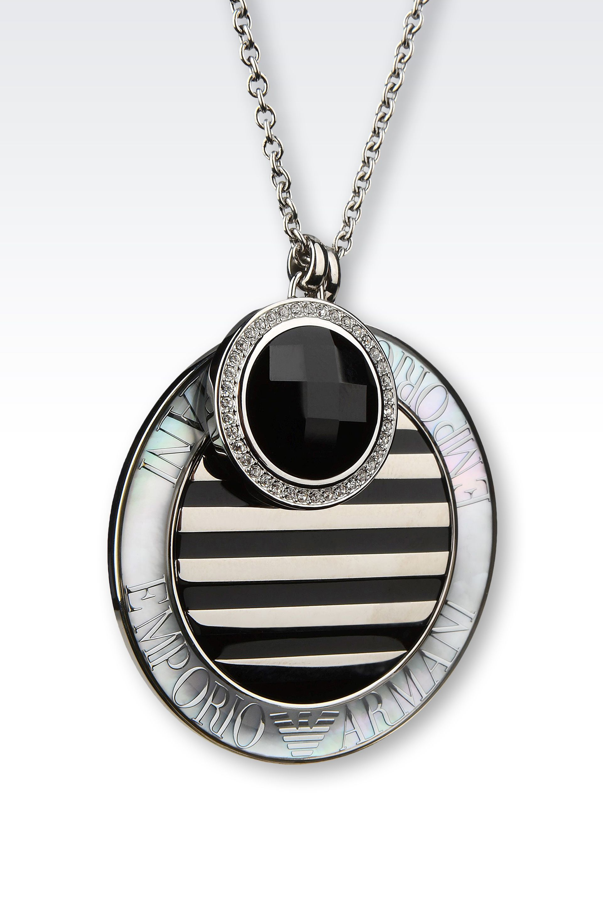 Emporio Armani Necklace In Onyx And Mother Of Pearl In