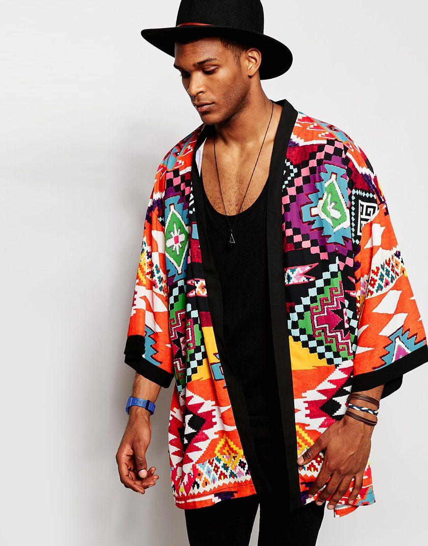 Jaded london Geo-tribal Kimono in Black for Men | Lyst