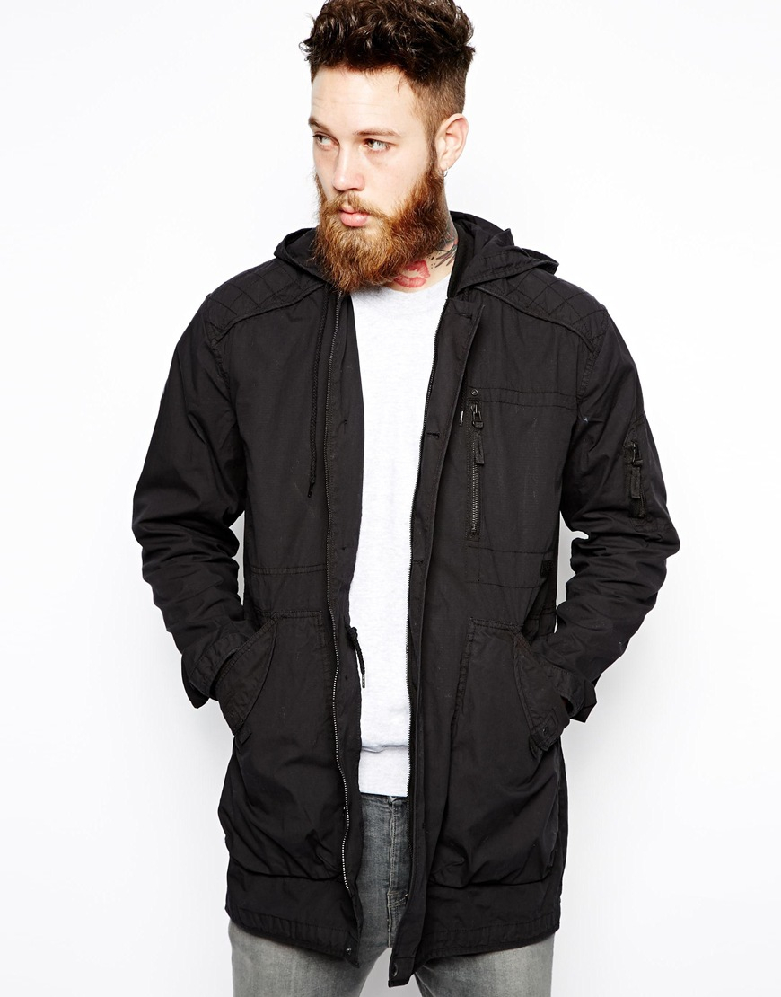 Asos Hooded Parka Jacket in Black for Men | Lyst