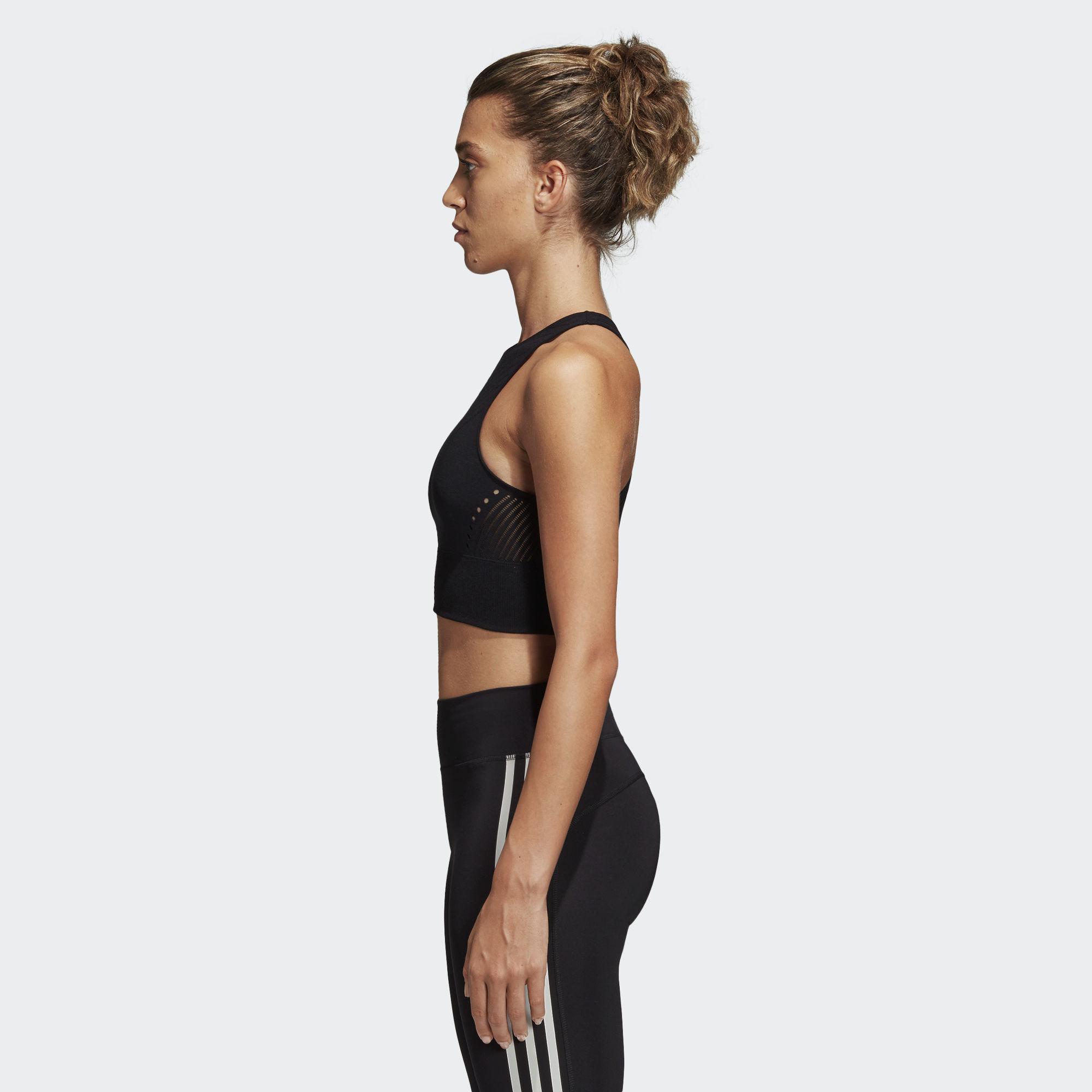 0067b2cd52af15 Adidas - Black Warp Knit Crop Top - Lyst. View fullscreen