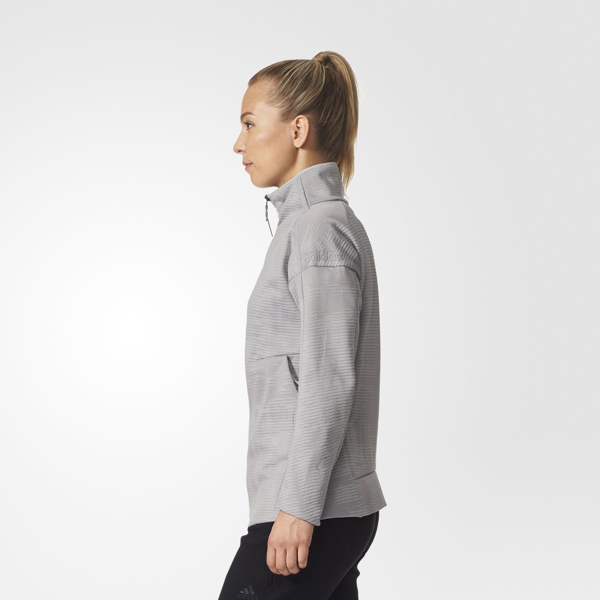 adidas Z.n.e. Pulse Jacquard Cover up in Gray Lyst