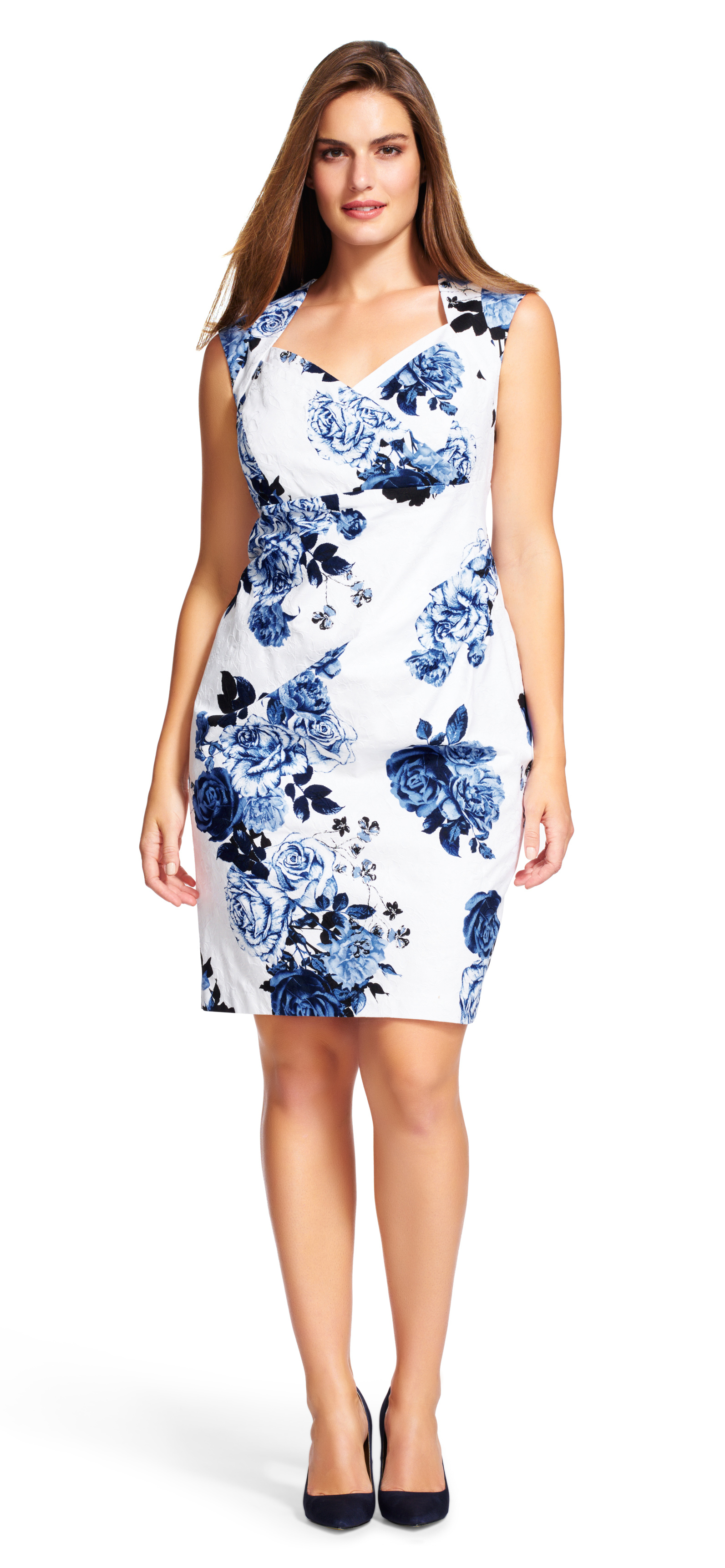 Adrianna papell Cap Sleeve Floral Print Sheath Dress in Blue | Lyst