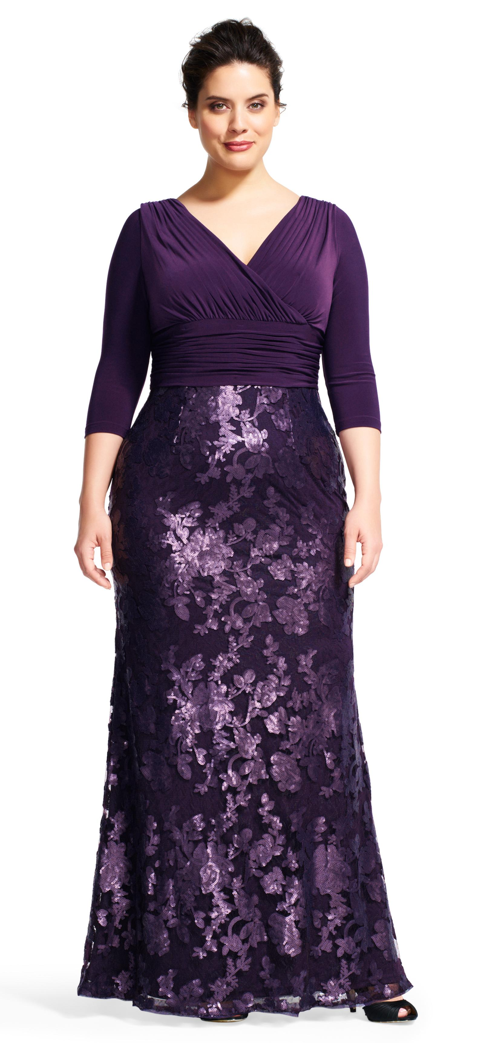 Lyst - Adrianna Papell Sequin Floral Lace Dress With Draped Jersey ...
