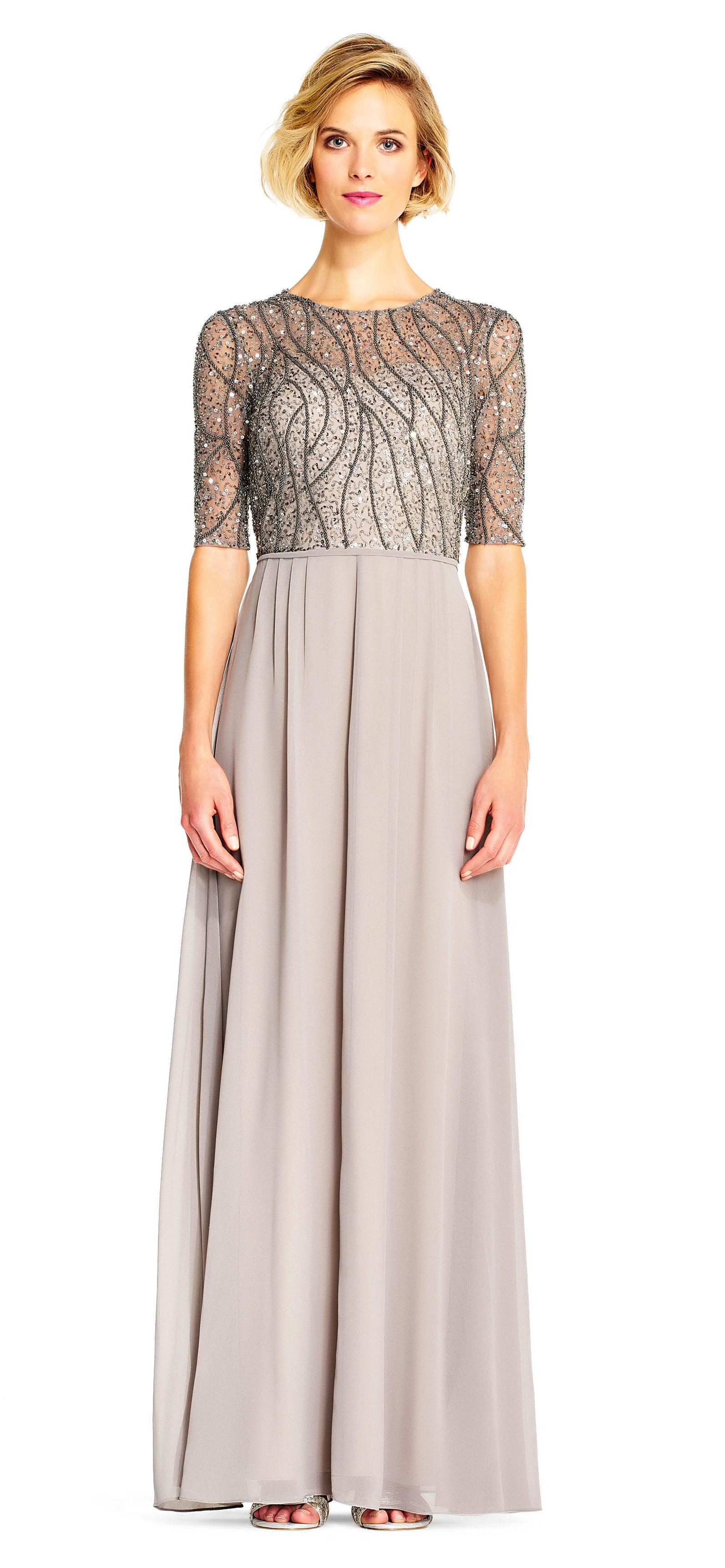 Lyst - Adrianna Papell Sequin Beaded Chiffon Gown With Elbow Sleeves