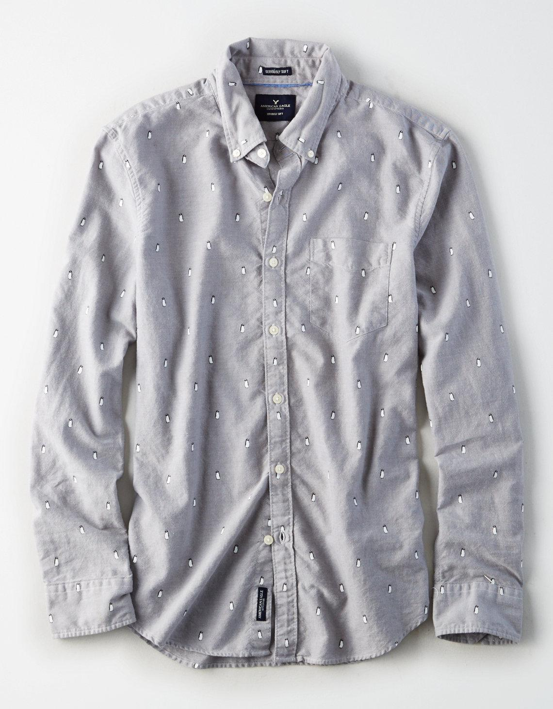 8386d2d8 American Eagle Ae Penguin Print Oxford Shirt in Gray for Men - Lyst
