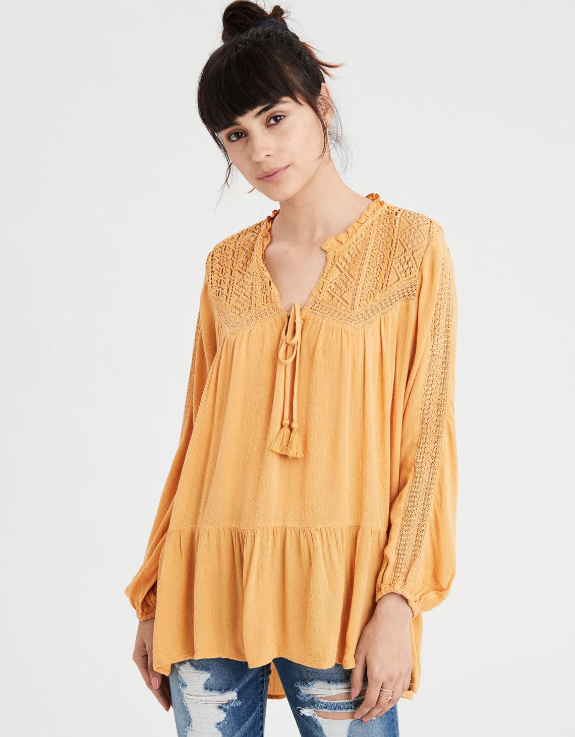 35084f9e49ffb Lyst - American Eagle Ae Lace Inset Long Sleeve Tunic Blouse in Yellow