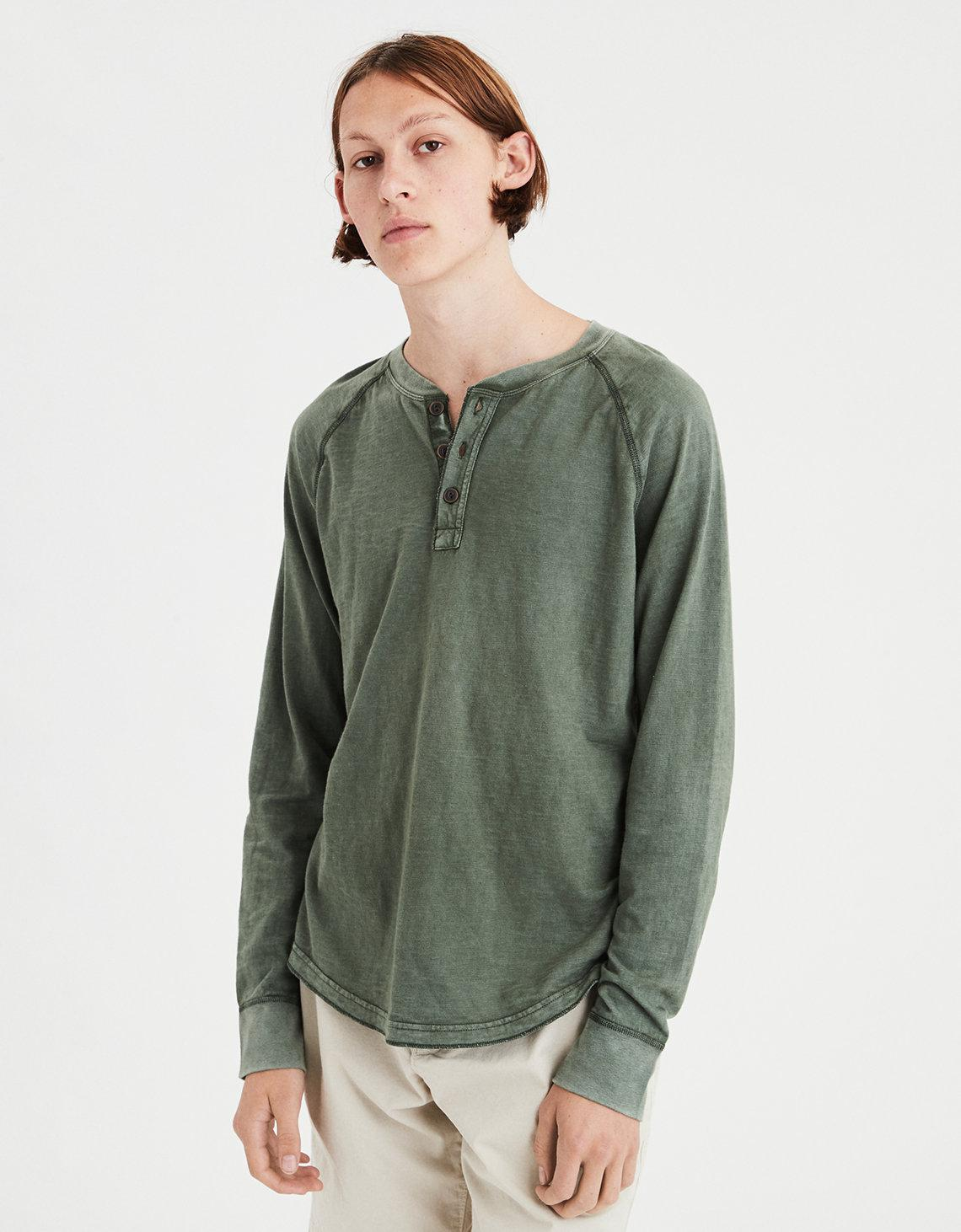 5d618995 American Eagle Ae Long Sleeve Henley T-shirt in Green for Men - Lyst