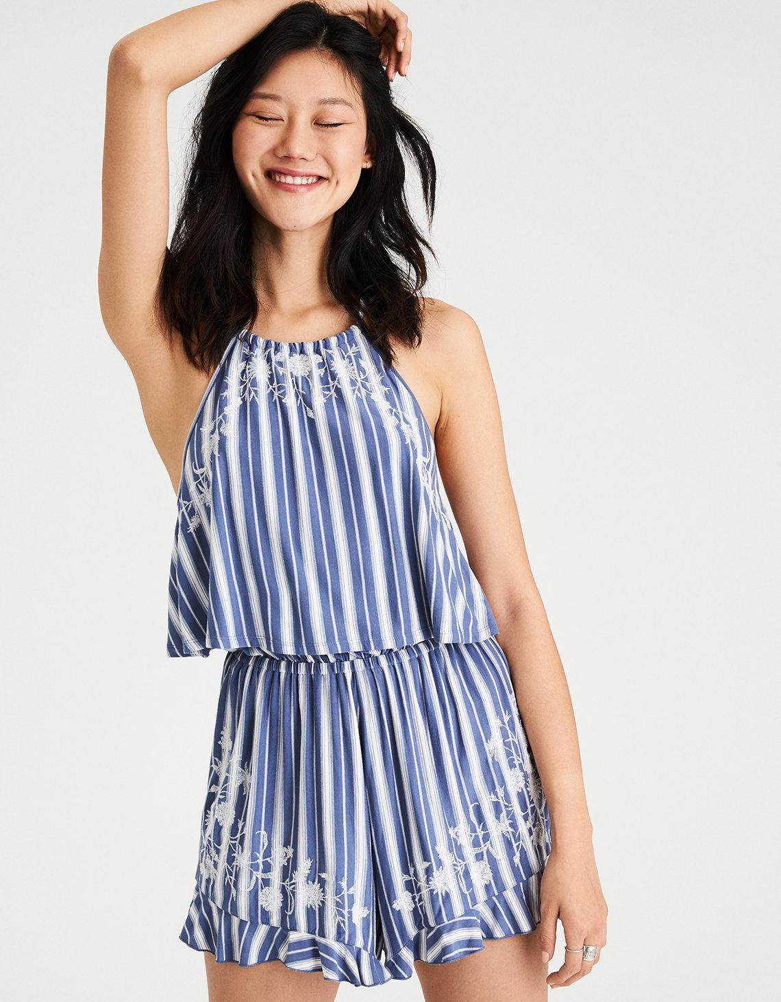 eab579743399 Lyst - American Eagle Ae Knit Embroidered Halter Romper in Blue