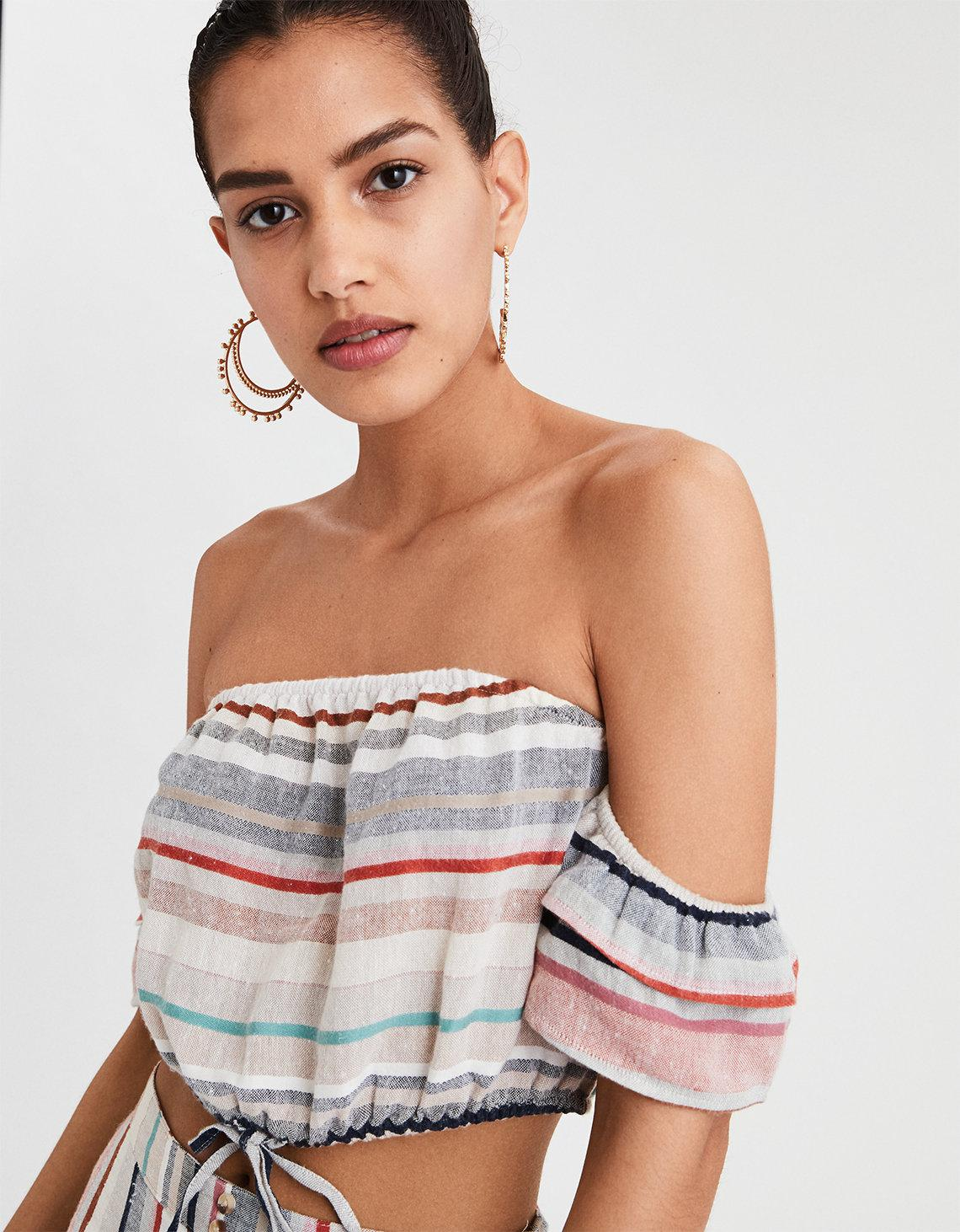 046150ace14400 Lyst - American Eagle Ae Striped Off-the-shoulder Crop Top