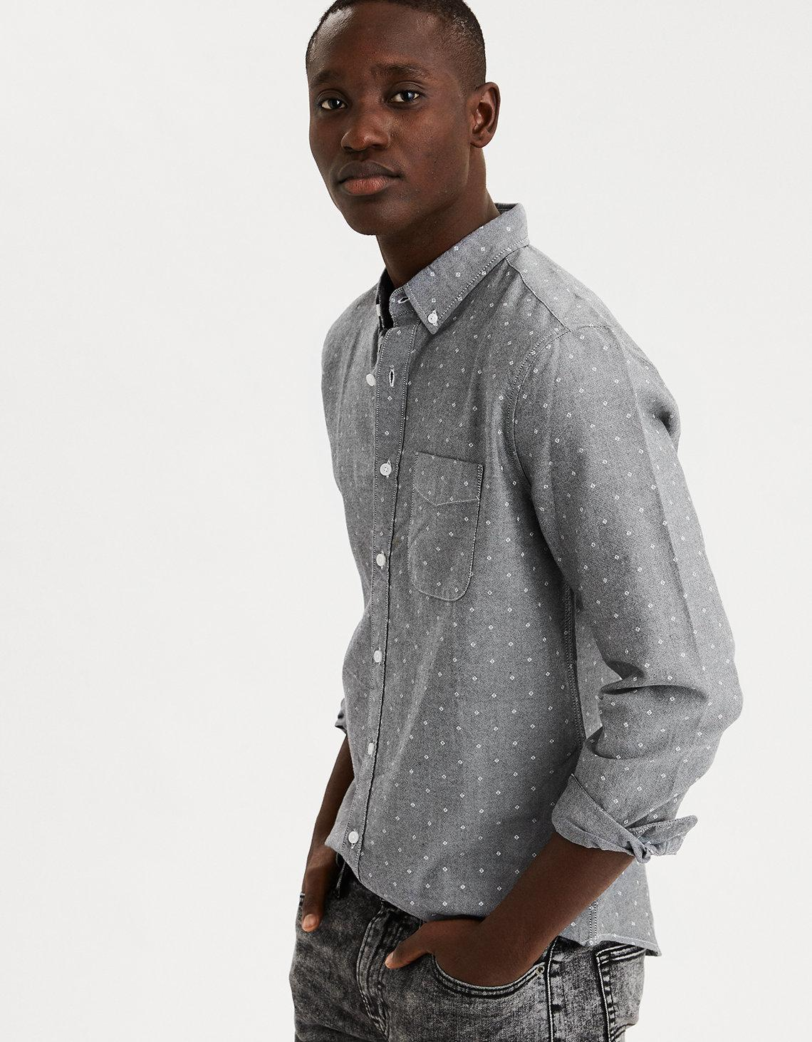 ee4be25f American Eagle Ae Long Sleeve Printed Oxford Button Down Shirt in ...