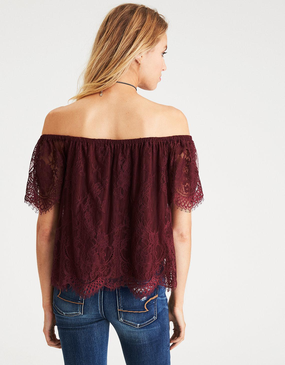 e0337207d55d8 Lyst - American Eagle Off-the-shoulder Eyelash Lace Top in Red