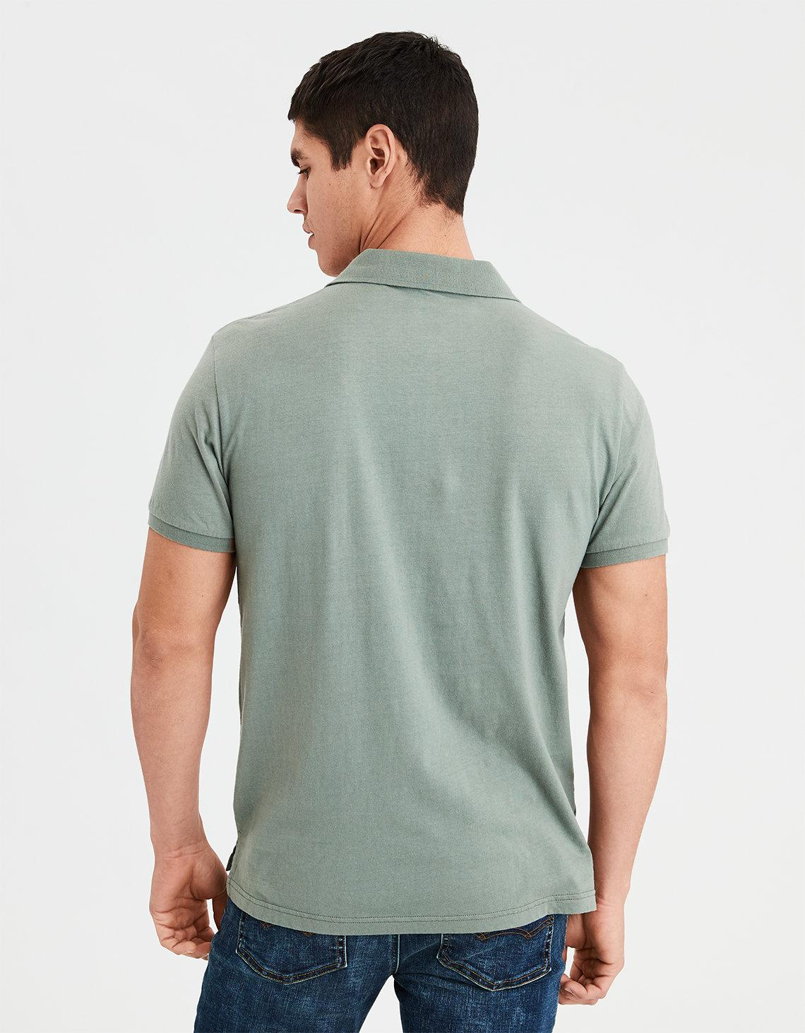 65531067 Lyst - American Eagle Ae Logo Jersey Polo Shirt in Green for Men