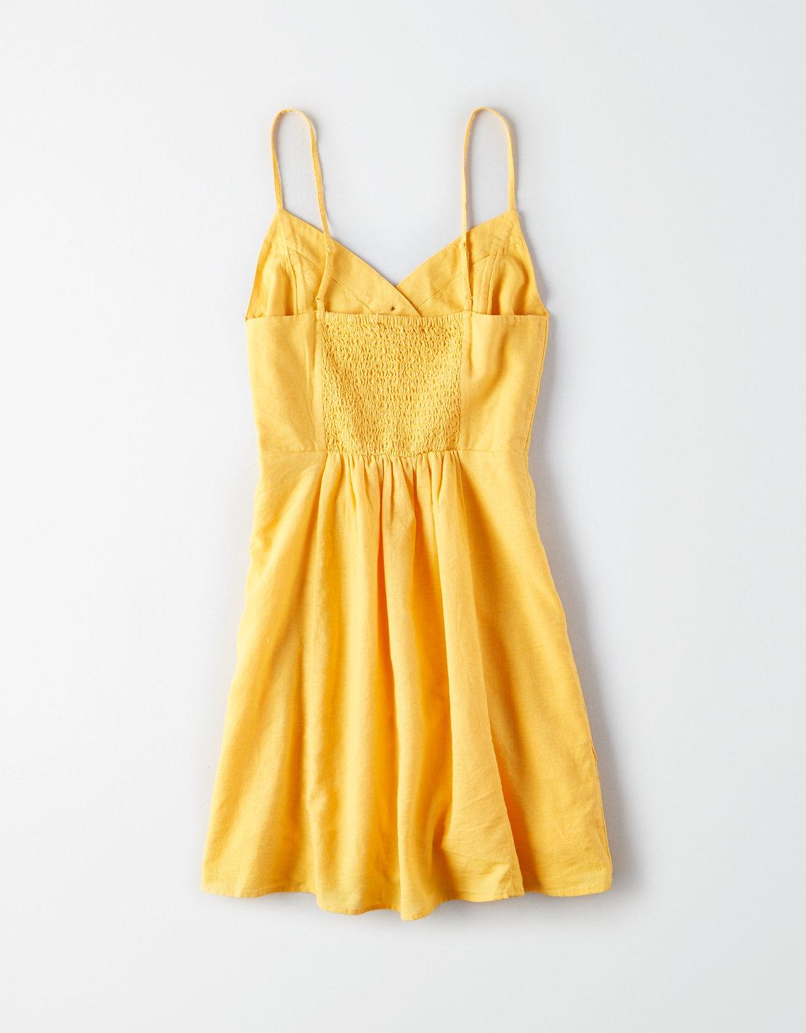 86276c6ced Lyst - American Eagle Ae Asymmetric Button Front Dress in Yellow