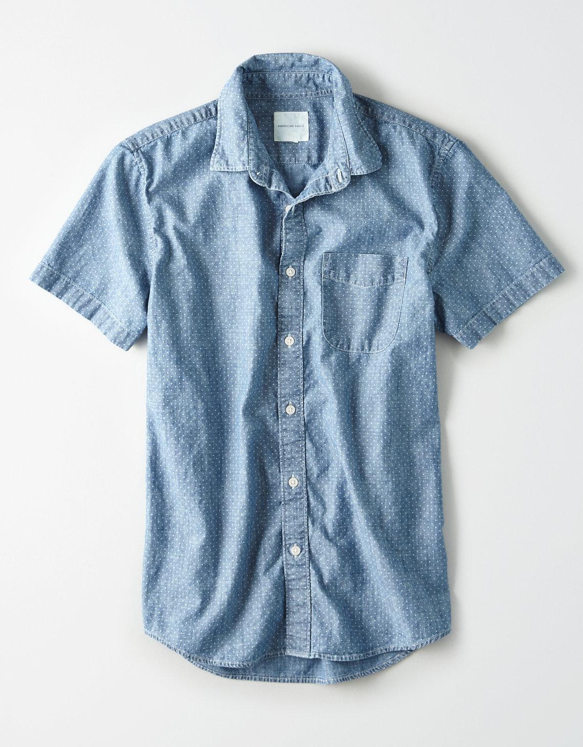 08f4b060289 Lyst - American Eagle Ae Lightweight Denim Short Sleeve Shirt in ...