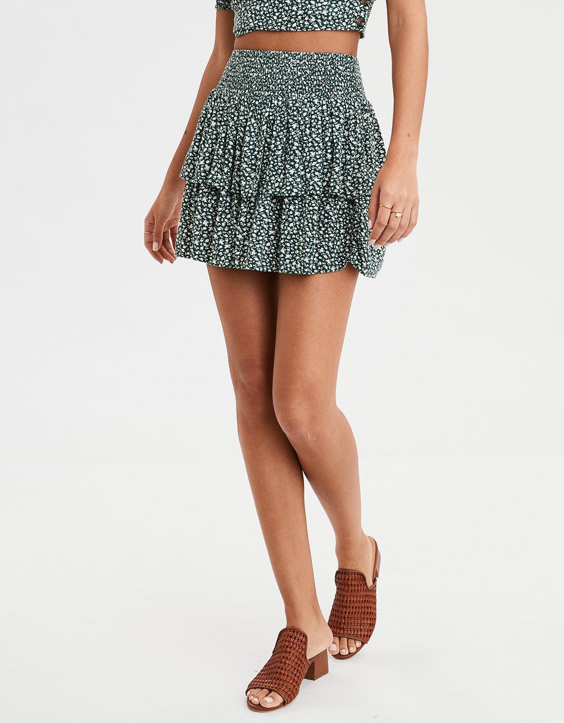 b86f414b43 American Eagle Ae High-waisted Floral Mini Skirt in Green - Lyst