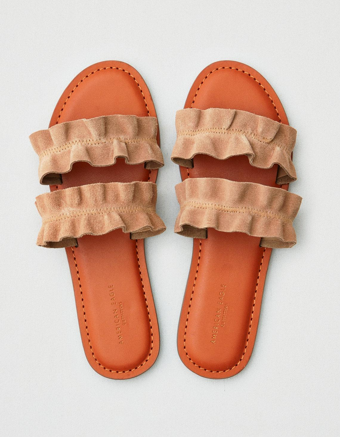 f73c4c42d98 Lyst - American Eagle Ae Double Ruffle Strap Sandal in Brown