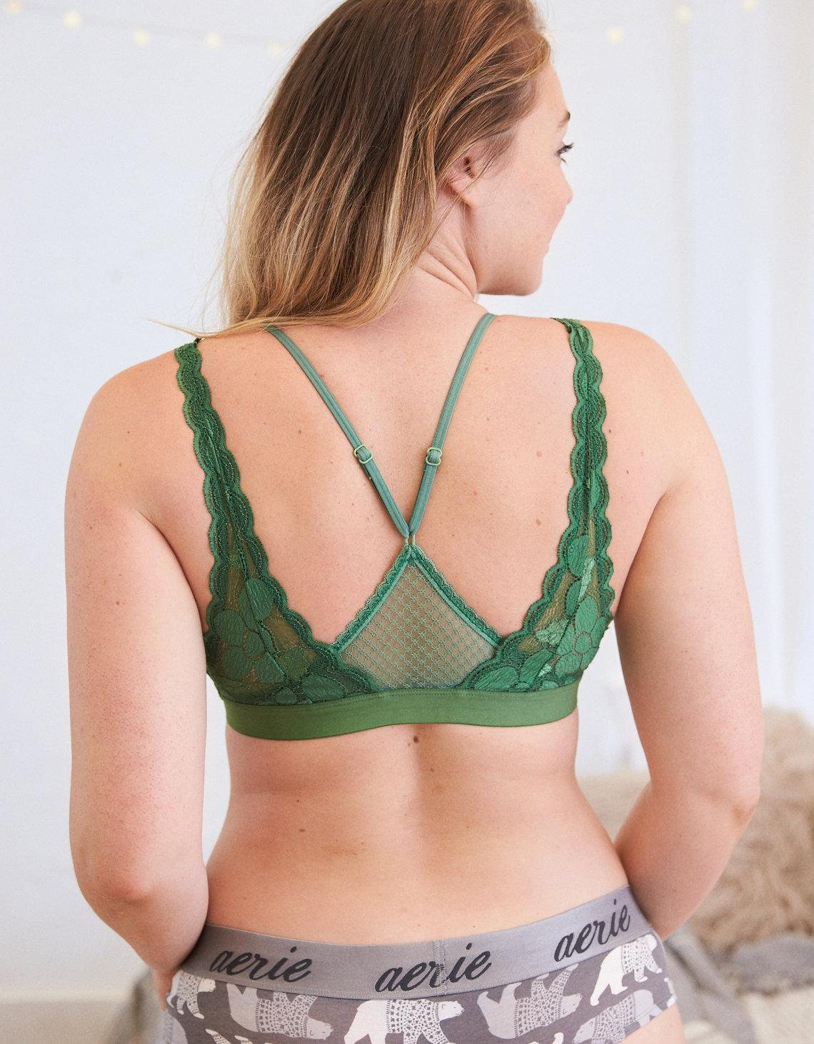 094cf5b90f Lyst - American Eagle Layered Lace Bralette in Green