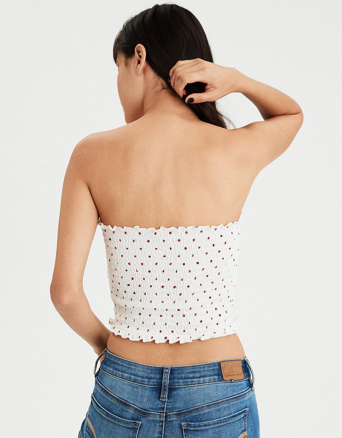 7944423aa0 Lyst - American Eagle Ae Wrap Around Smocked Tube Top in White