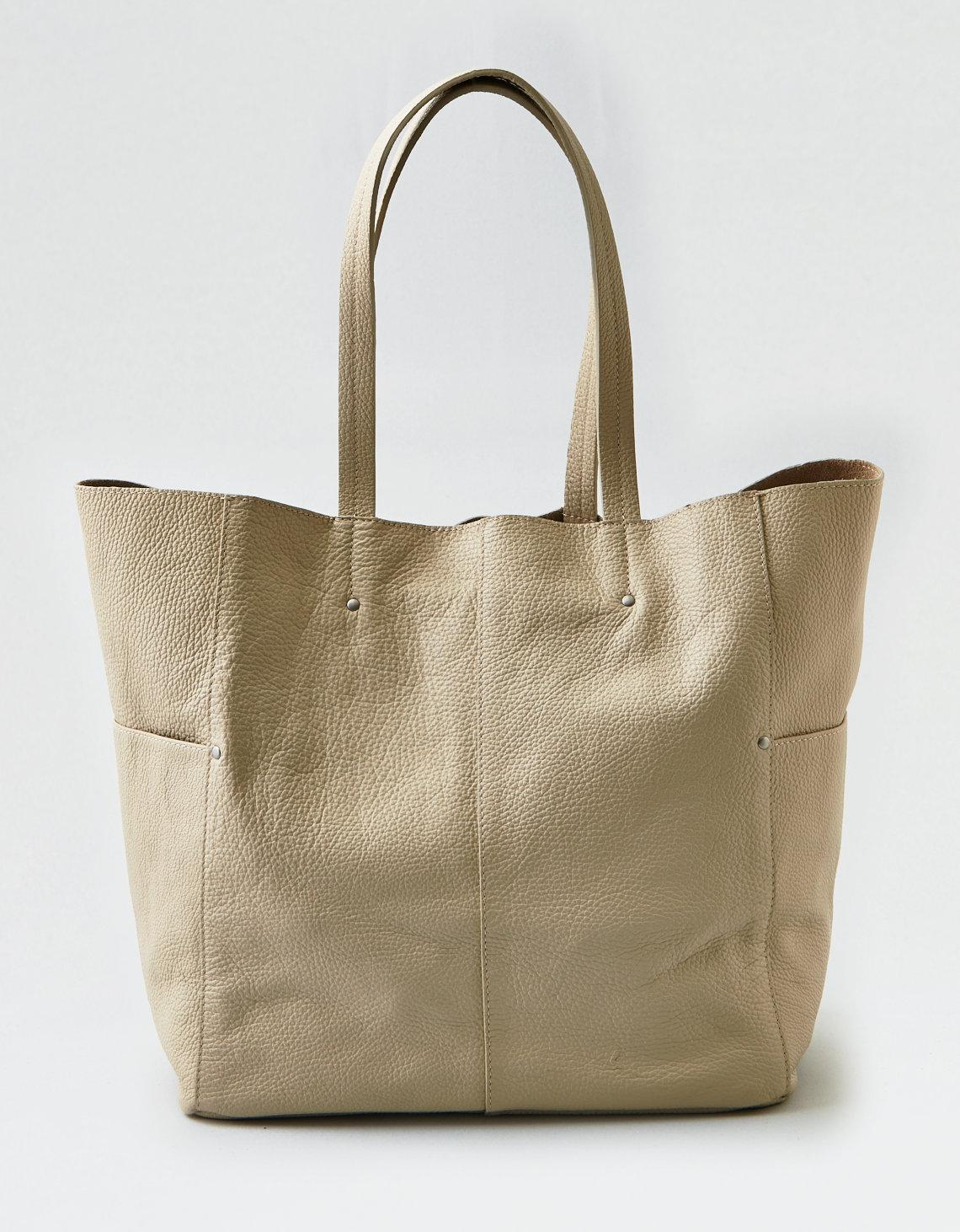 f7625601e821 Lyst - American Eagle Wander Leather Large Tote in Natural