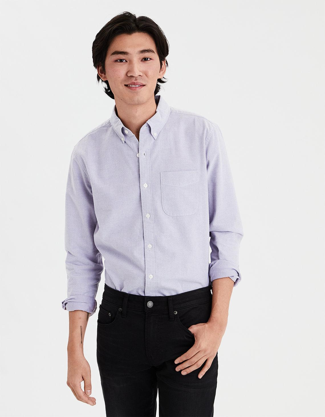 35520f7cab11 American Eagle Ae Long Sleeve Oxford Button Down Shirt in Purple for ...