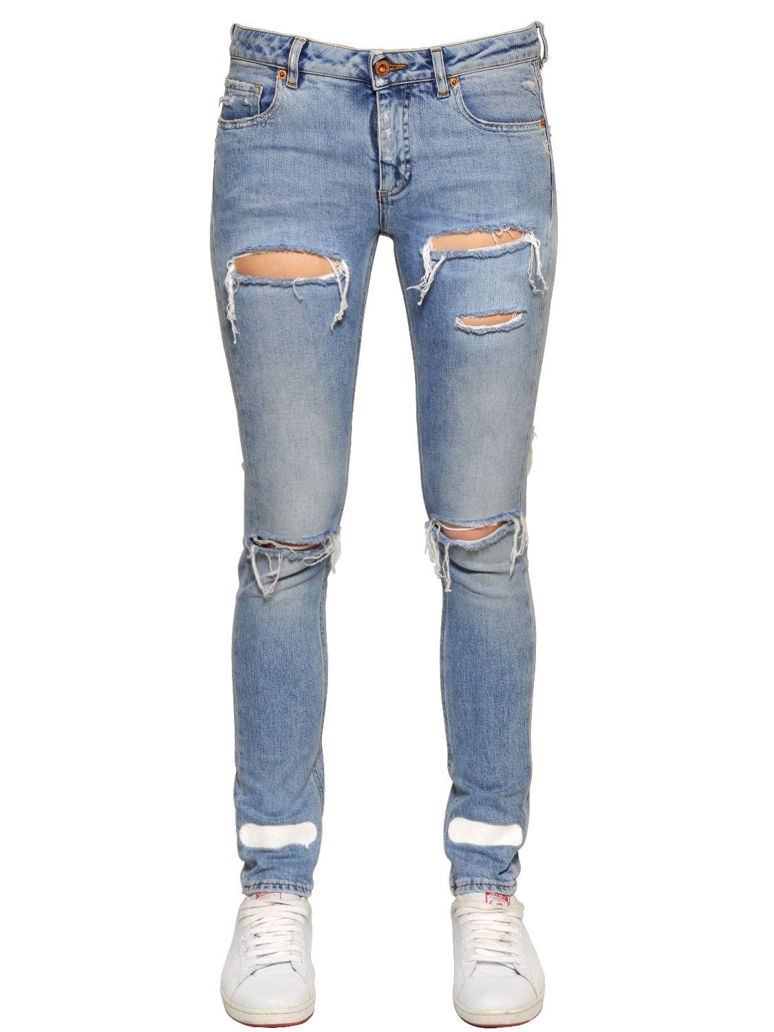 Off-white c/o virgil abloh Spray Paint Cotton Denim Jeans in Blue ...