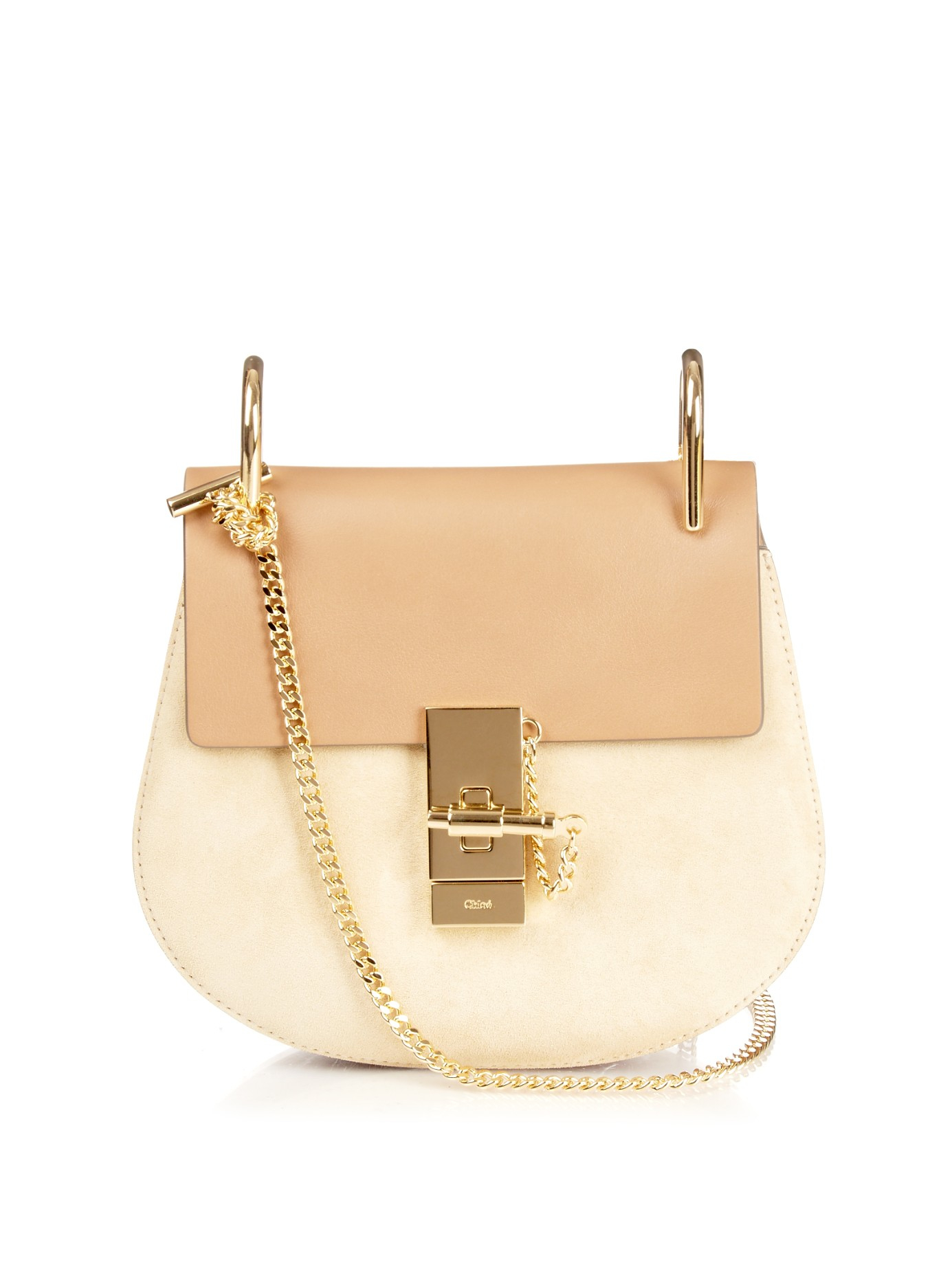 ef12a10b5e Lyst - Chloé Drew Mini Leather and Suede Cross-Body Bag in Brown