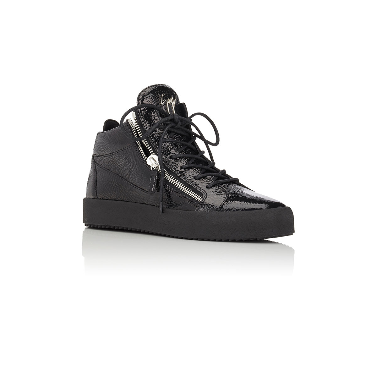 giuseppe zanotti zip mid top sneakers in black for