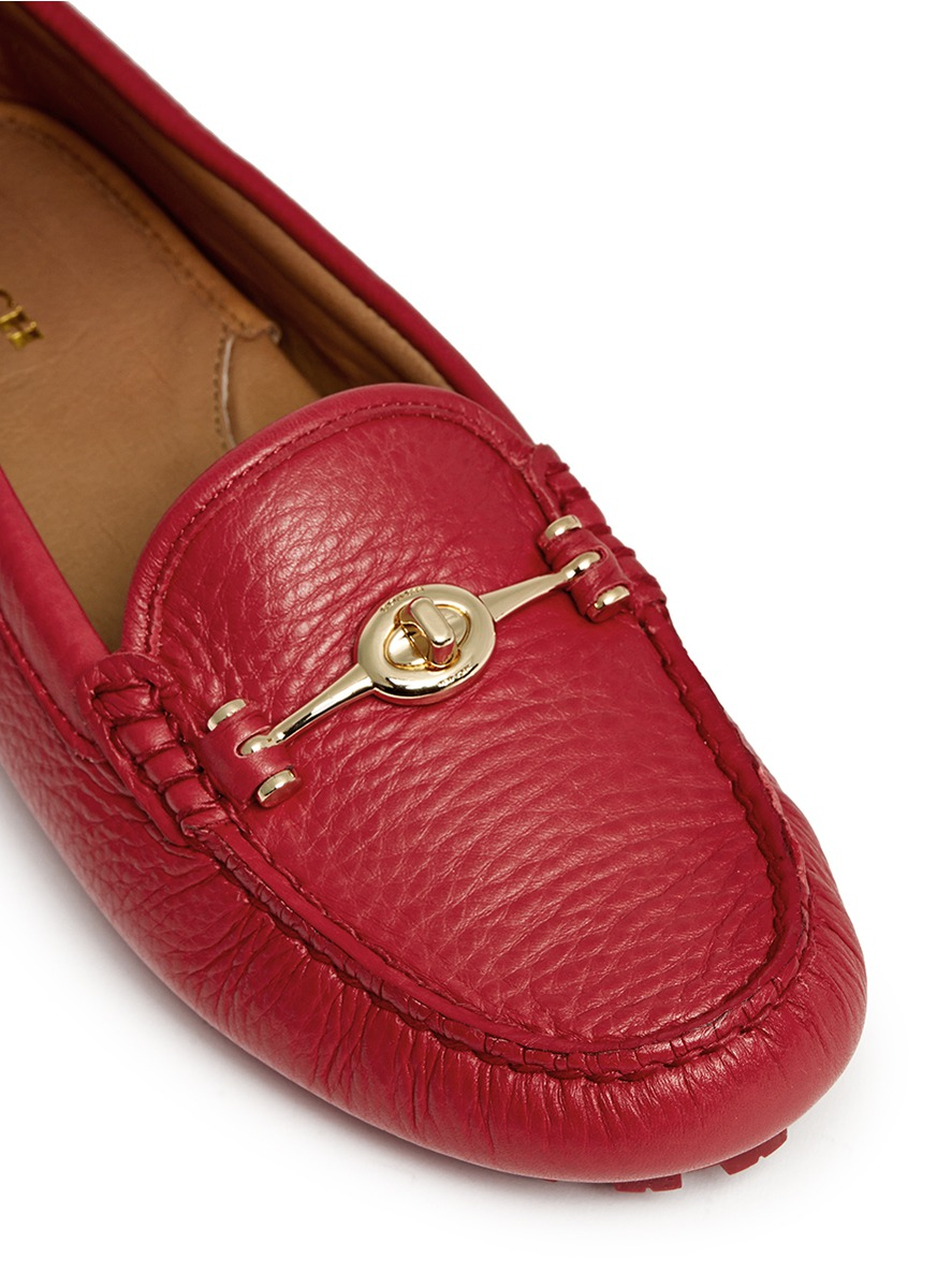 310bfb8c423 Lyst - COACH  arlene  Turnlock Pebbled Leather Loafers in Red