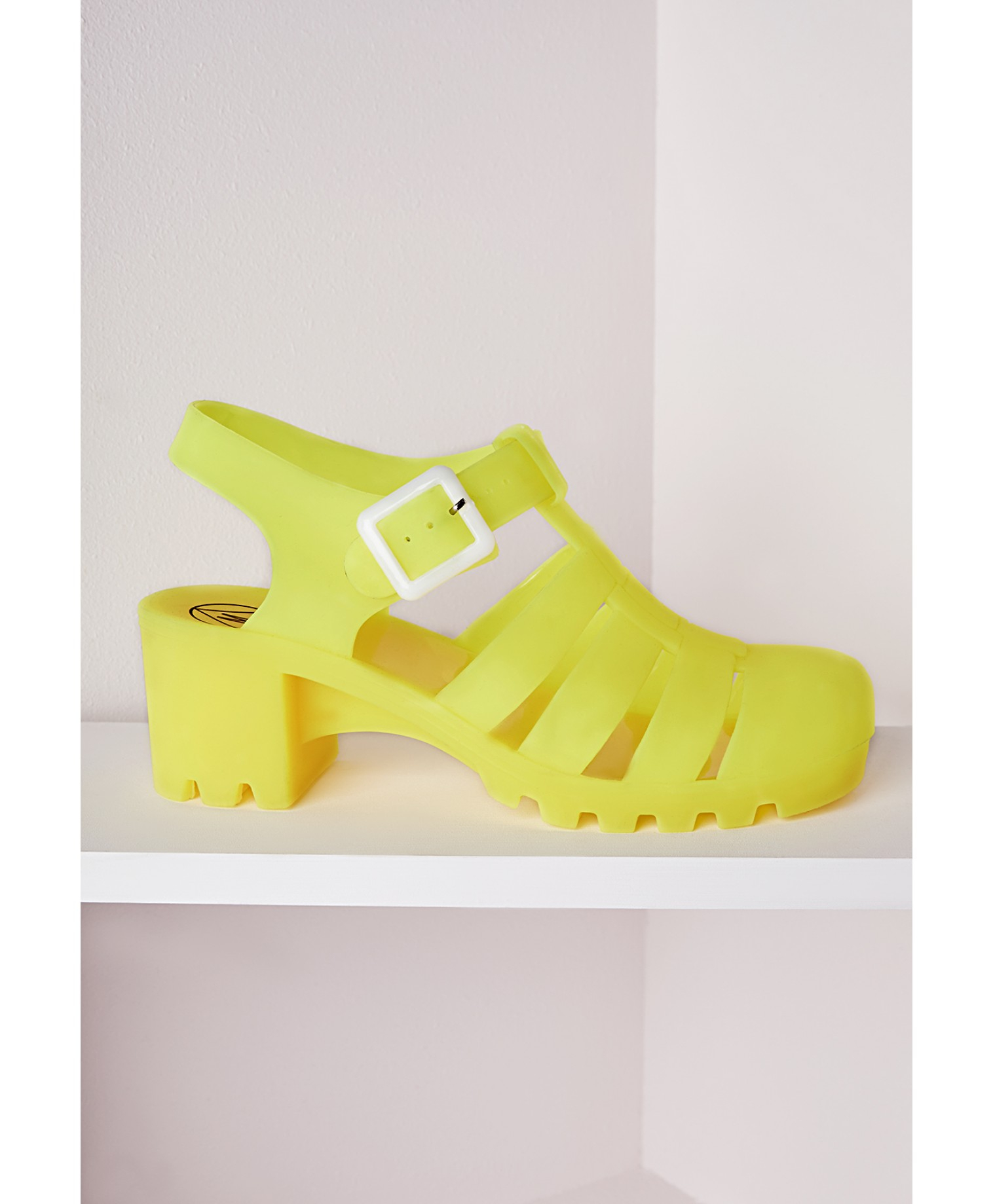 7f7baeb040d2 Lyst - Missguided Matte Heeled Jelly Shoes Neon Yellow in Yellow