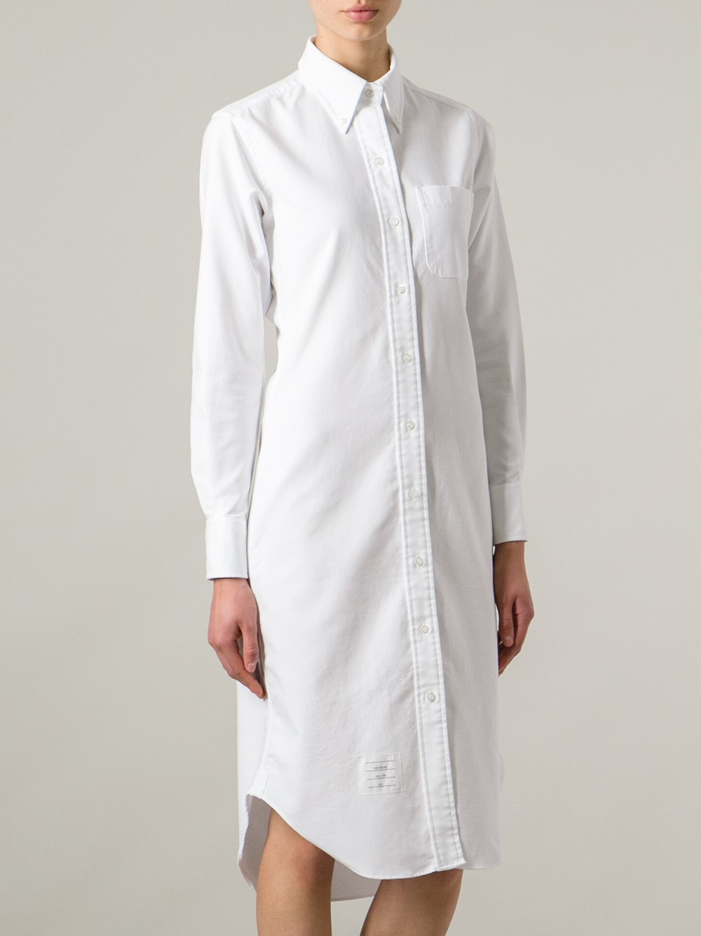 mid length shirt dress - White Thom Browne Buy Cheap Store Cheap Sale Huge Surprise yNZSDNep