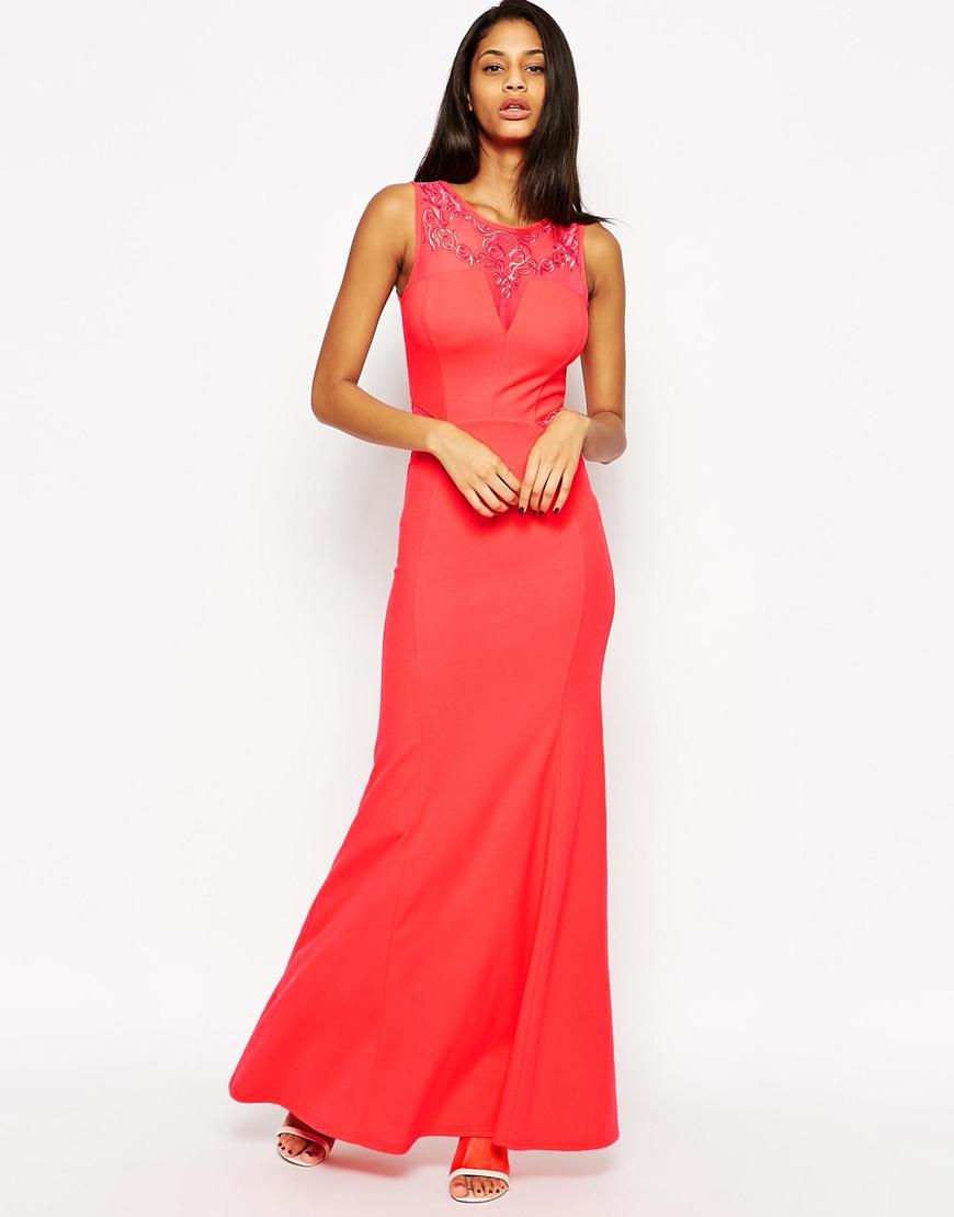 Long red dress lipsy