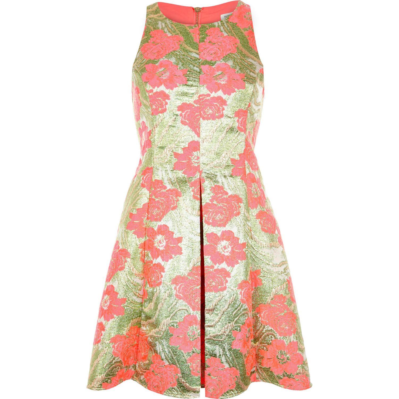 River Island Pink Floral Jacquard Skater Prom Dress in Pink - Lyst