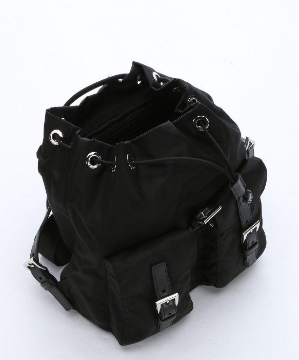ad5e1b2c1107 ... order lyst prada black nylon small drawstring backpack in black b9c13  44335