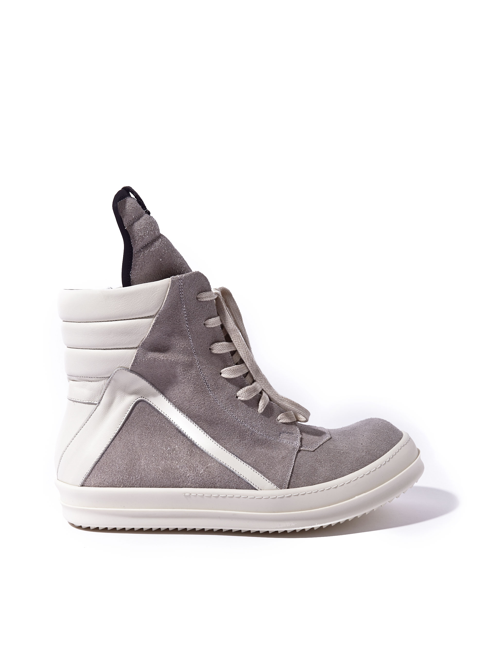 rick owens mens suede geobaskets in gray for grey lyst