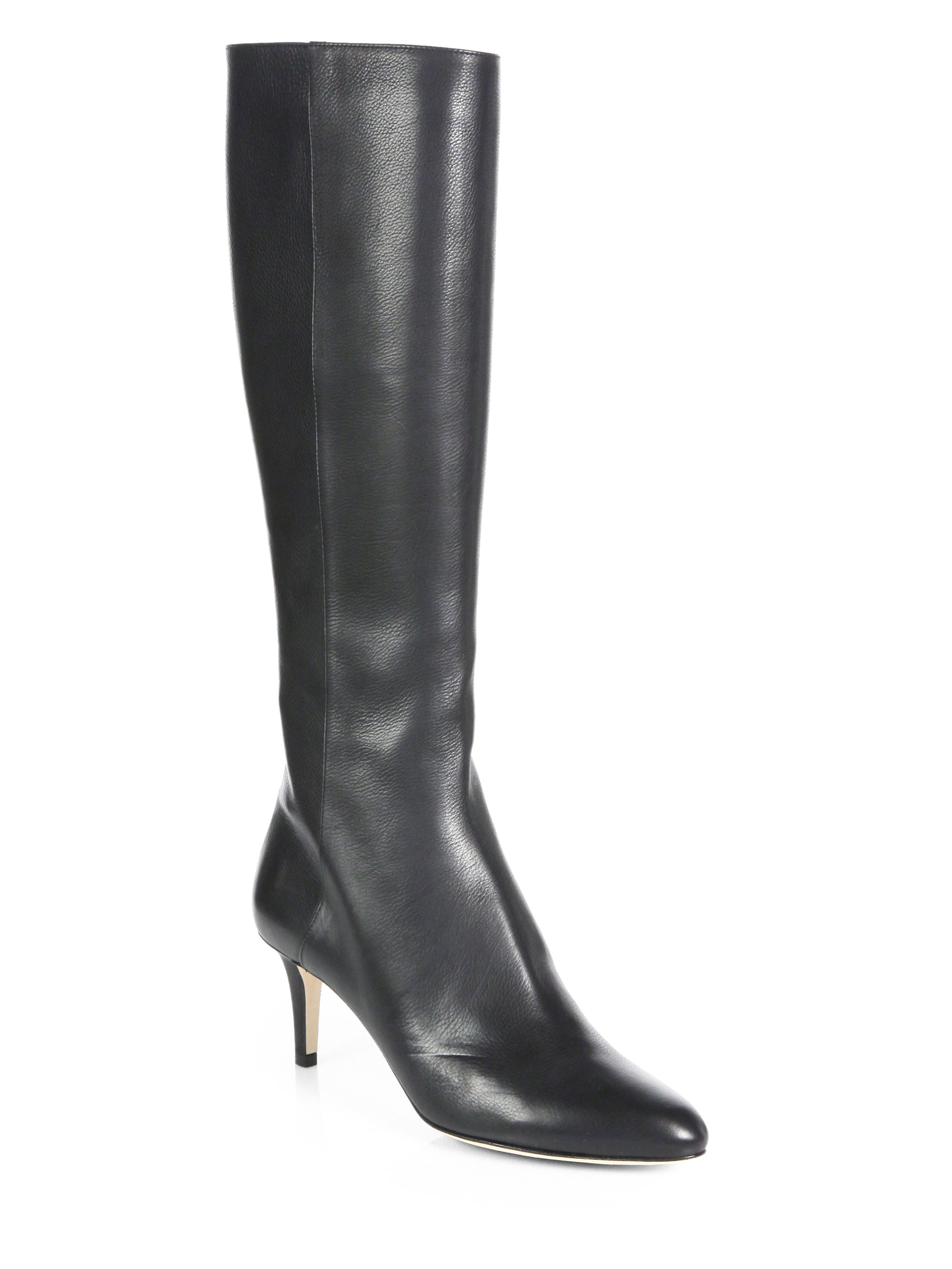 jimmy choo gem leather knee high boots in black lyst