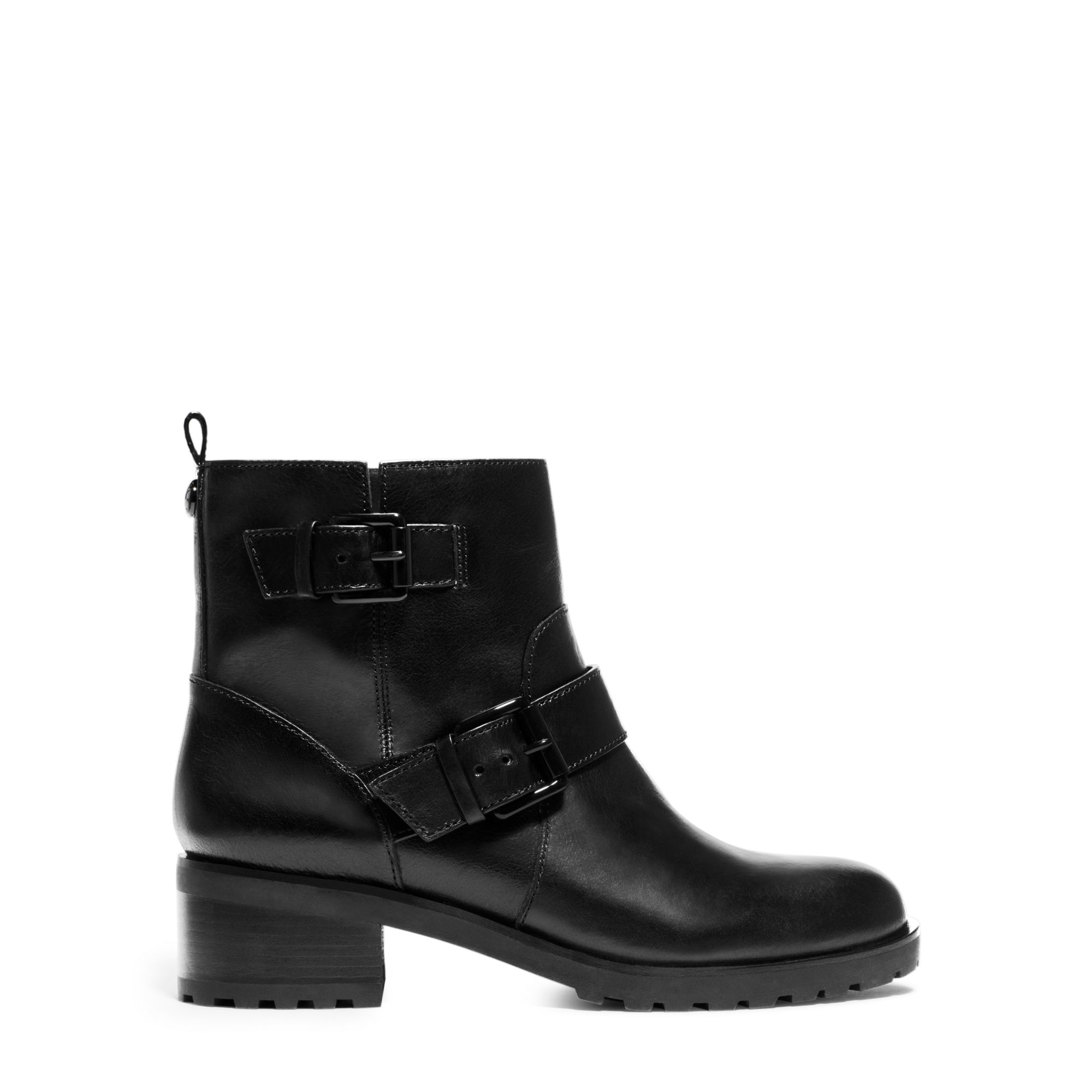 michael kors black gretchen leather ankle boot lyst