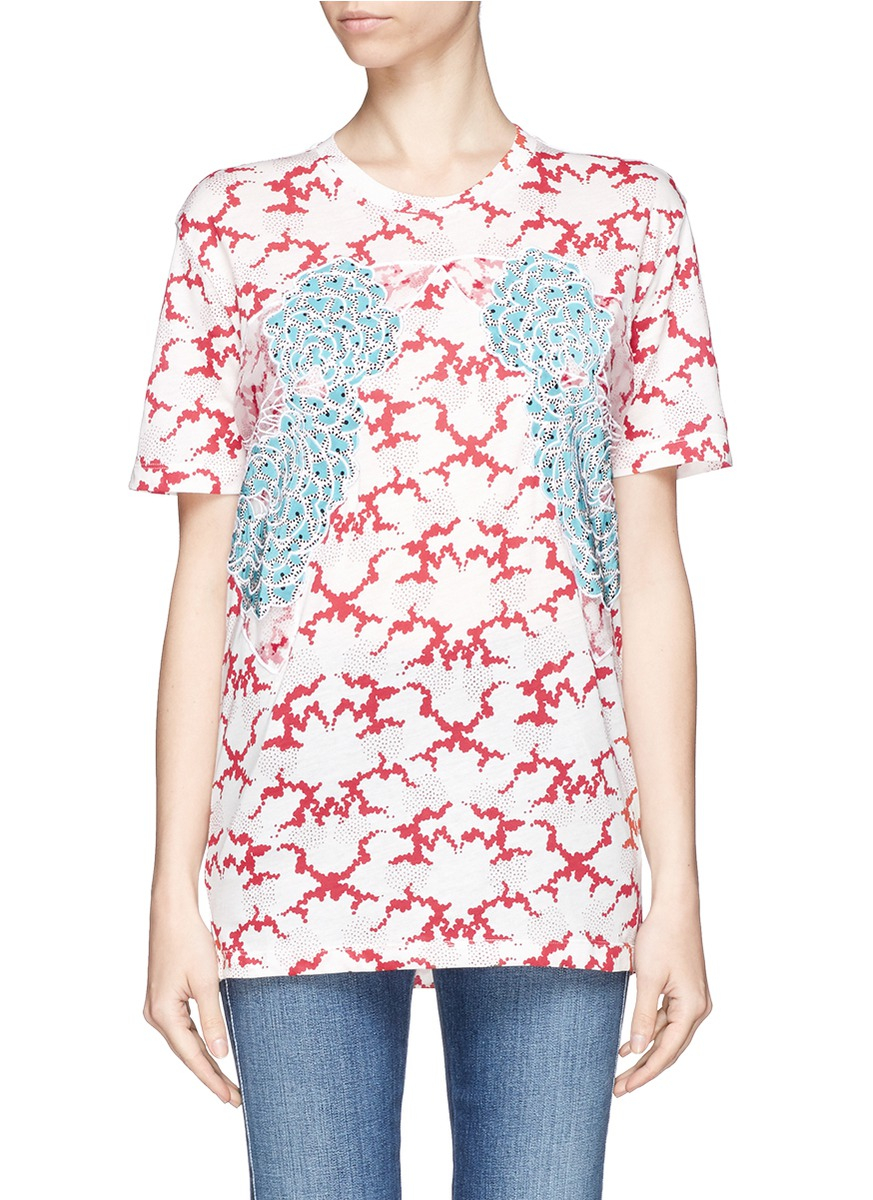 Stella mccartney flower appliqu cloud print organic for Organic cotton t shirt printing