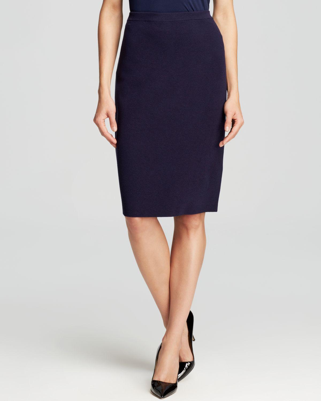 Eileen Fisher Knit Pencil Skirt in Blue (Midnight) | Lyst